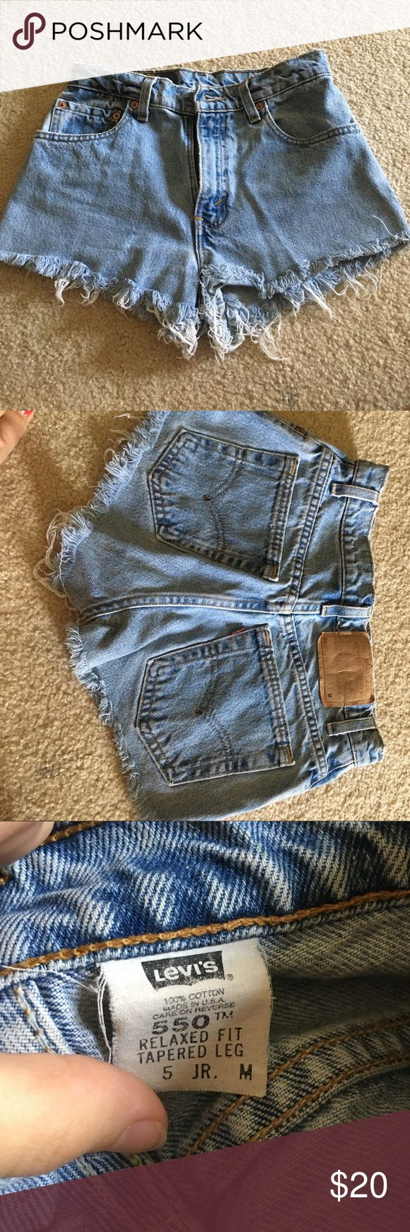 Levi Cutoff Jean Shorts Light Colored Levi Cutoff Jean Shorts Says Med but is in Jr Size so is like an XS or 00 Levi's Shorts Jean Shorts