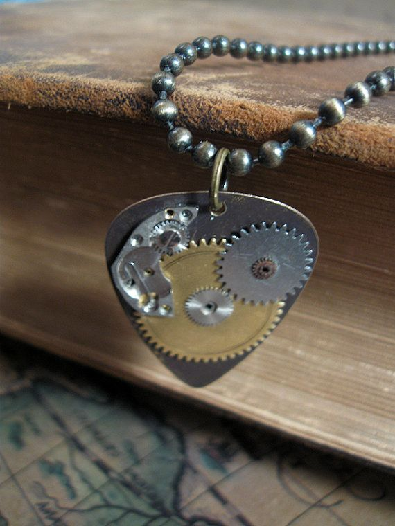 Steampunk Guitar Pick Necklace  Metal Guitar Pick  by Keytiques, $35.00