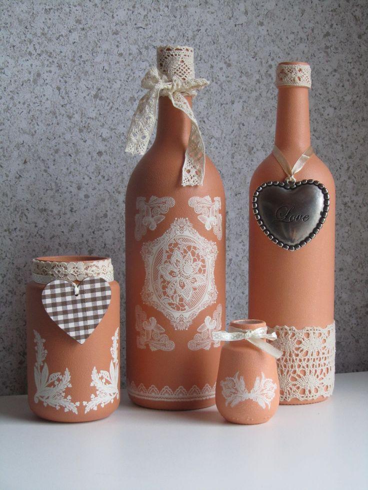 Flessen/potjes met gesso bewerkt