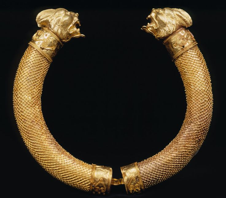 Torque with lynx-head finials   (Early 2nd century BCE)  This necklace of twisted gold is from the Hellenistic period. Torques were originally worn by Persian, Scythian and Celtic warriors who invaded Greece and neighbouring lands.