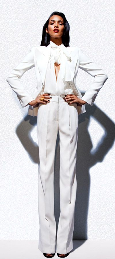 I want to host a meeting wearing this. lol White Pant Suit:  Tom Ford S/S '12 Look Book