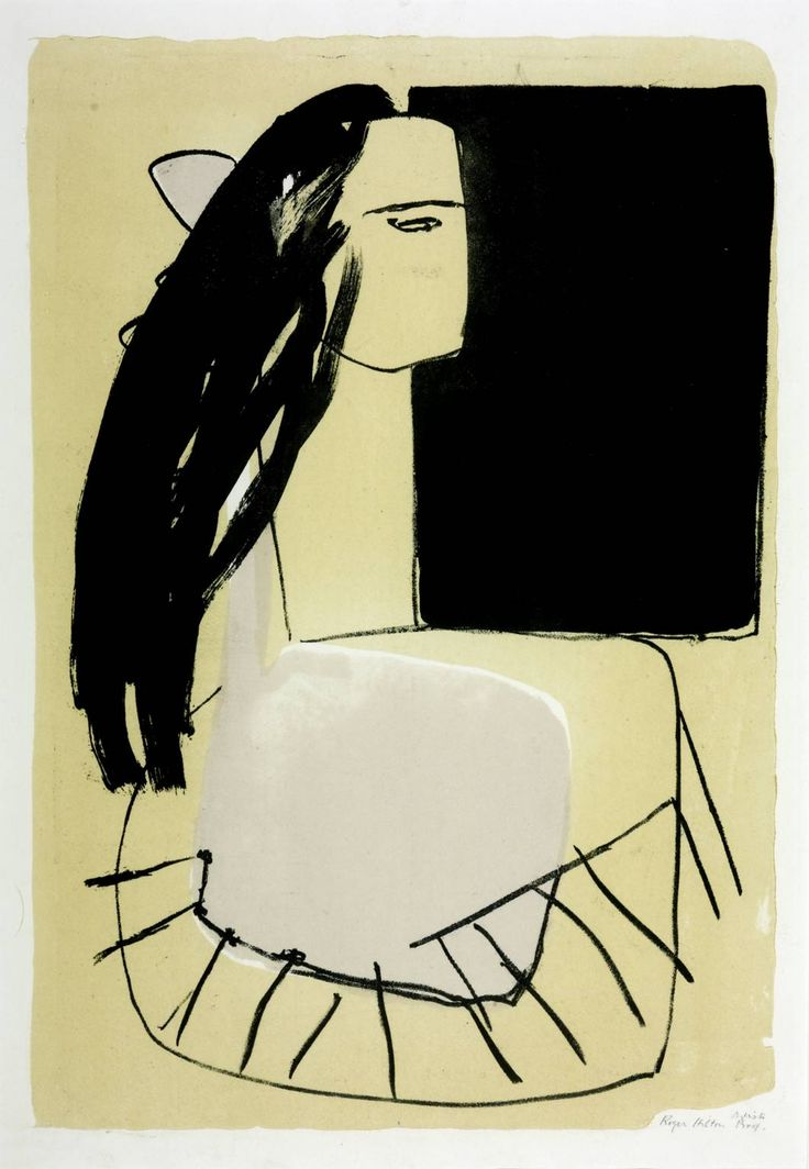 Roger Hilton (1911‑1975)  Title  Woman with Dark Hair  Date  1949  Medium  Lithograph on paper  Dimensions  image: 560 x 380 mm  Collection  Tate