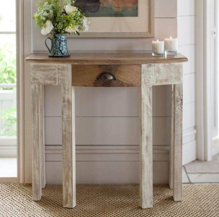 Shabby chic white half moon console table with drawers