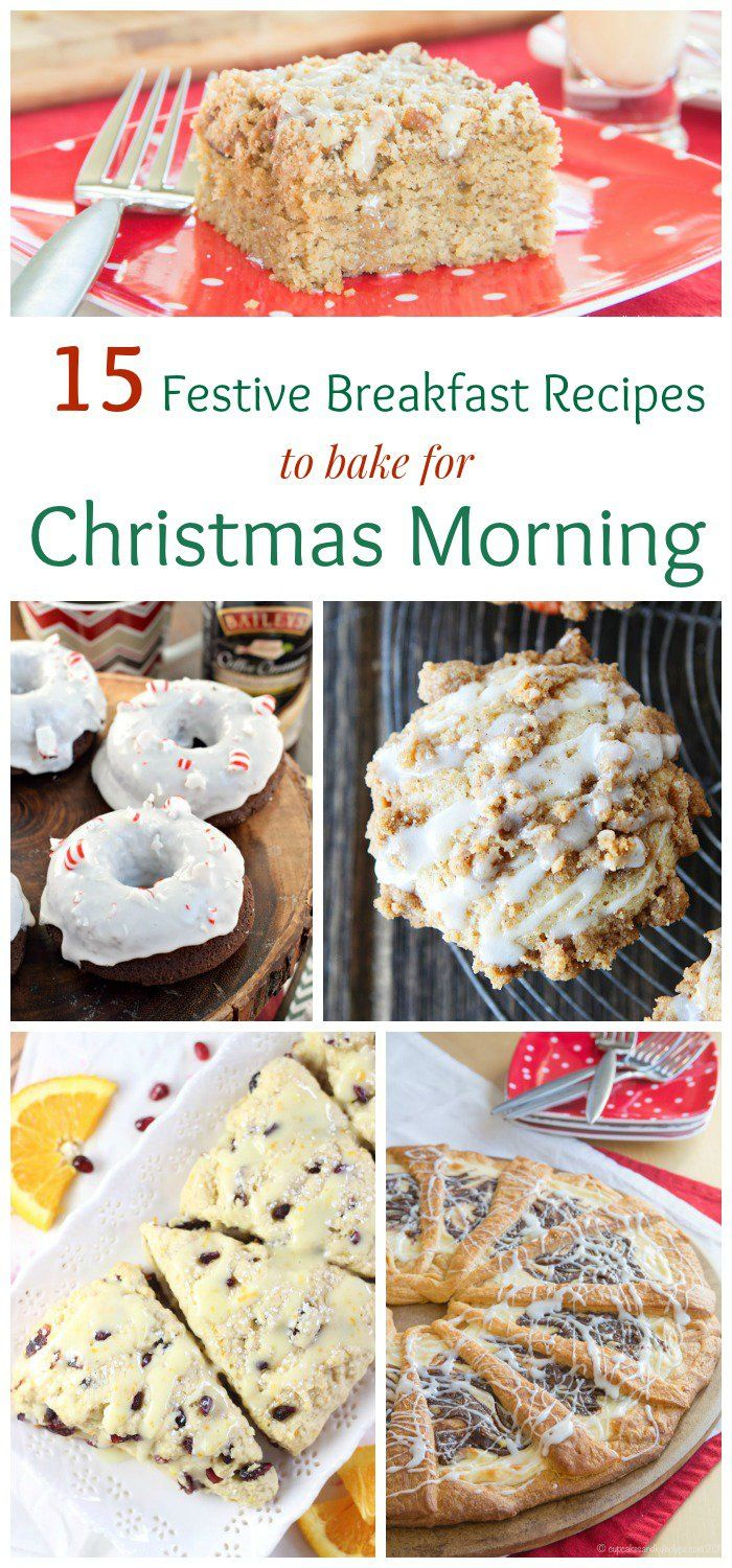 15 Festive Breakfast Recipes to Bake for Christmas Morning - muffins, sweet rolls, scones, coffee cake and more to make ahead and enjoy while you open presents around the Christmas tree.  See more http://recipesheaven.com/paleo