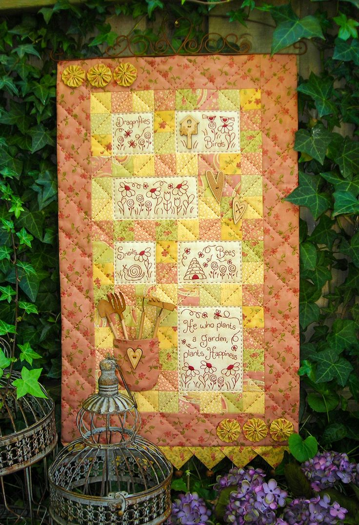 """""""Garden of Happiness"""" by Sally Giblin of The Rivendale Collection. Finished wallhanging size: 18"""" x 32""""   #TheRivendaleCollection stitchery, appliqué and patchwork patterns. www.therivendalecollection.com.au"""