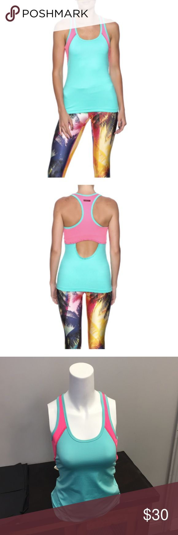 Hard Tail Neon Pink & Seafoam Tank Hot pink & aqua Tank by Hard Tail. New with Tags, never been worn before! Built in shelf bra without cups. Meant to fit close to the body. Open back detail. Bright summer colors!! 🏝💕 Hard Tail Tops Tank Tops