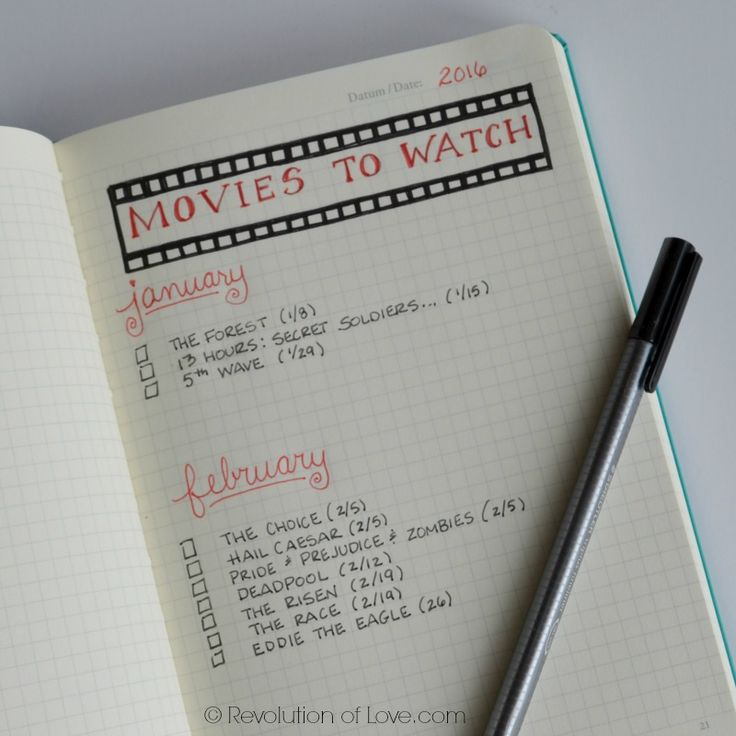 RevolutionofLove.com - Bullet Journal Spring Update //bujo_movie_list_mar