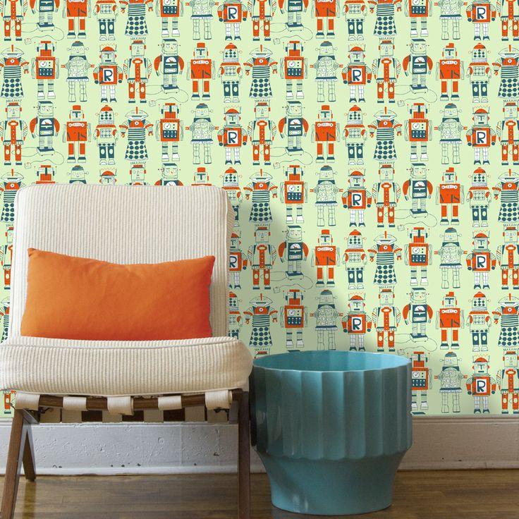 Loboloup Robots Wallpaper, available at #polkadotpeacock. #peacocklove #loboloup