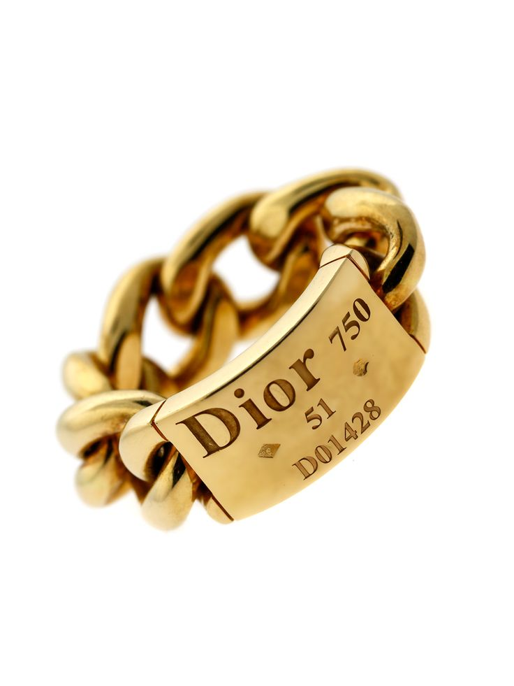 """Christian Dior gold """"Gourmette"""" featuring an engraved plaque encircled by a fabulous chunky gold chain-link band. This chic ring screams fun and can be worn with any outfit!"""