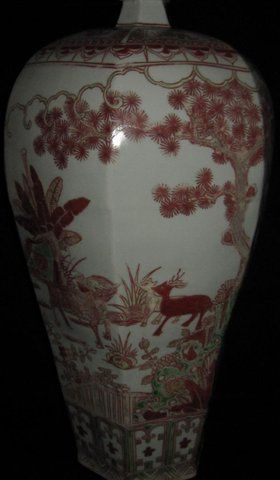 Chinese ming dynasty white & red big vase