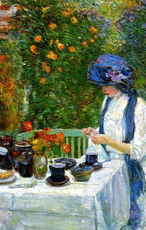 The Terre-Cuite Tea Set (aka French Tea Garden), 1910 Frederick Childe Hassam