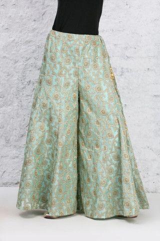 Mint Green Sharara in Banarasi Silk