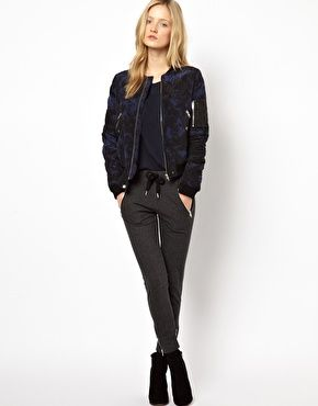 Image 1 ofThe Kooples Sport Jogging Pants with Zip Pocket Detail in Charcoal
