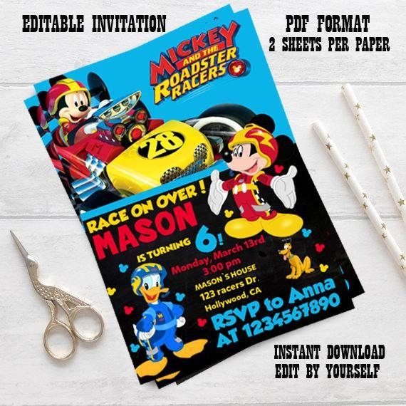 Mickey And The Roadster Racers InvitationMickey And The