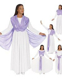 Praise dancewear, worship dance attire, Dance Fashions Warehouse, worship dance dresses, praise dance dresses, christian dance wear, mens and boys praise wear, praise tunics, praise overlays, liturgical dance dresses, worship pants, worship tops, flamenco dresses,spirutial dance wear, cheap praise wear in Atlanta. - 13124 Dance Dress w/Attached Drape