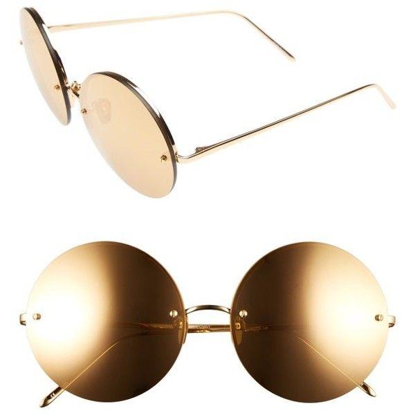 Women's Linda Farrow 58Mm 22 Karat Gold Trim Rimless Round Sunglasses (€1.040) ❤ liked on Polyvore featuring accessories, eyewear, sunglasses, yellow gold, rounded sunglasses, rimless sunglasses, mirrored sunglasses, round sunglasses and mirror glasses