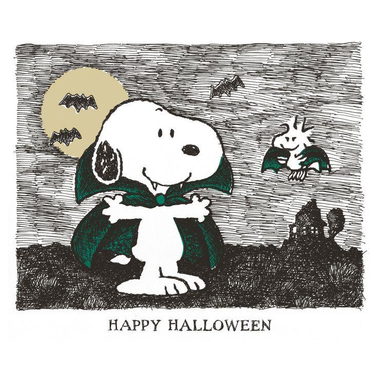 Snoopy and woodstock as vampires saying Happy Halloween