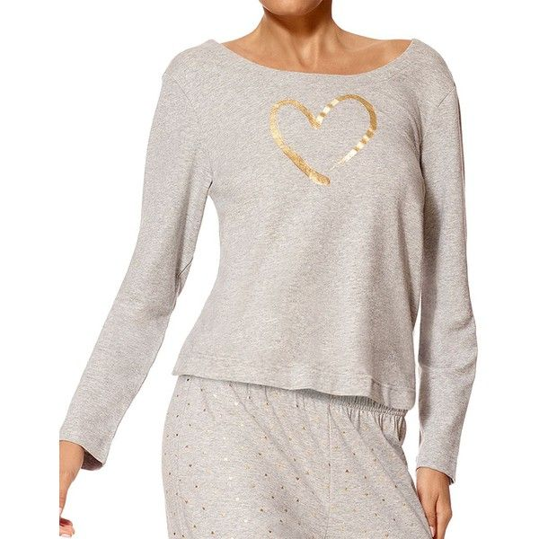Hue Heart of Gold Long Sleeve Terry Shirt ($18) ❤ liked on Polyvore featuring plus size women's fashion, plus size clothing, plus size tops, grey, gold long sleeve top, gold long sleeve shirt, gold top, boat neck tops and grey top