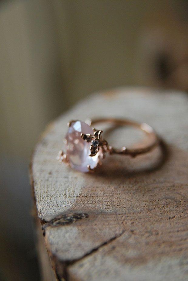 Diamond Engagement Ring Hand Engraved 14K Rose Gold Star Pattern