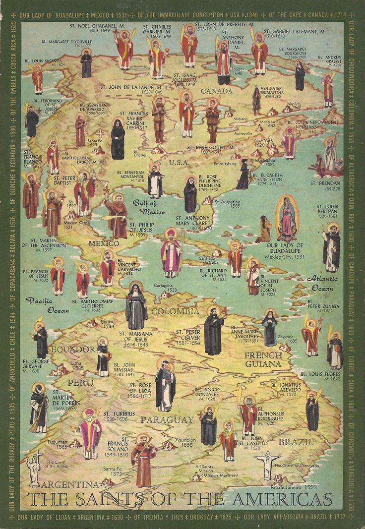 """""""Saints of the Americas"""" map, from The Communion of Saints by the Slaves of the Immaculate Heart of Mary"""