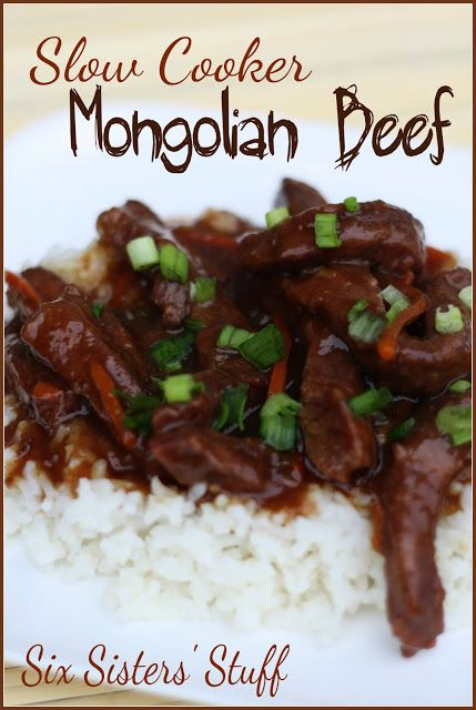 Slow Cooker Mongolian Beef | Six Sisters' Stuff. A limitless adjustment to this with gluten free soy and we should be good!