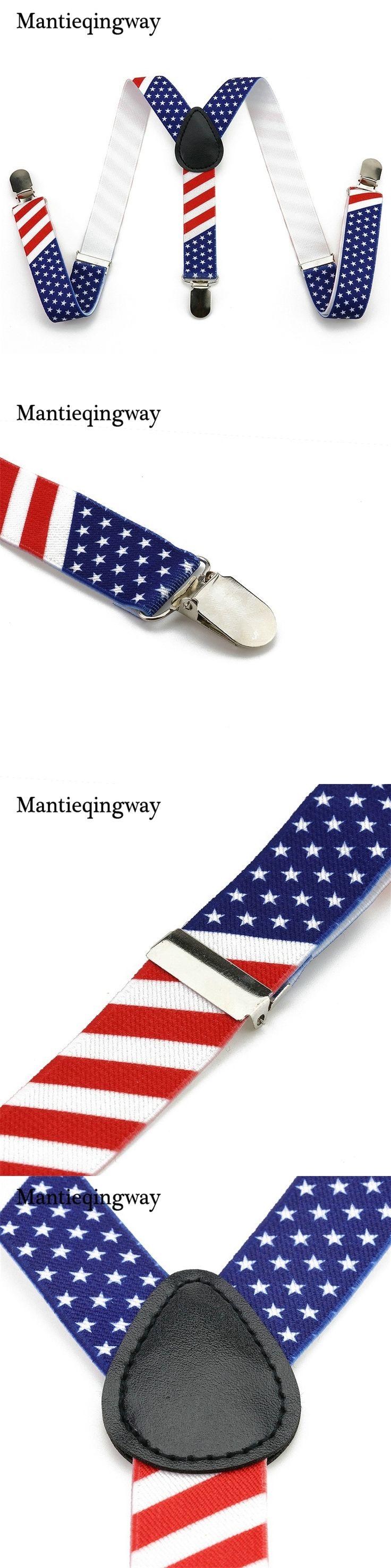 Mantieqingway Stars Striped Elastic Braces Suspenders Blue 3 Clip-on Suspenders For Children Y Back Shirt Garters For Boy&Girl