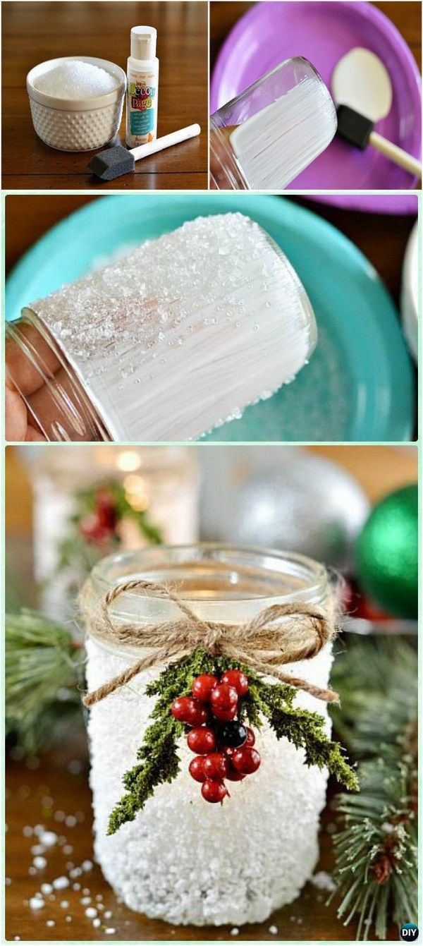 Handmade Snowy Mason Jars. This Epsom salt covered Mason jar makes a great addition to your holiday décor or Thanksgiving table. It also makes the perfect gift for several people on your Christmas list. It's simple and doesn't require many supplies.