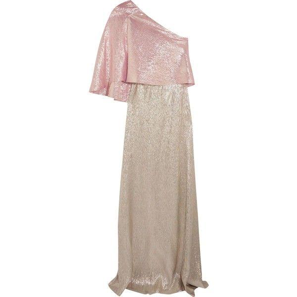 ROLAND MOURET Harrington One Shoulder Silk Blend Lame Gown GBP988
