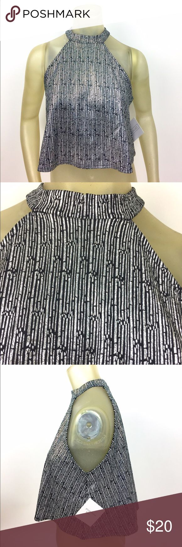 """Stella Luce Metallic Crop Top L Black and silver metallic crop top by Stella Luce. Flattering neck line. 95% polyester, 5% spandex; hand wash. Sz L measures 20"""" long and 19"""" armpit to armpit. New with tags. A01010 Stella Luce Tops Crop Tops"""