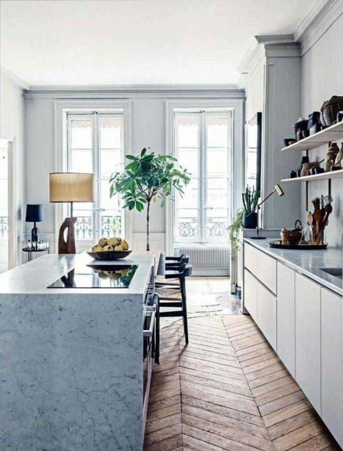 ilot en marbre blanc sol en parquet clair idee deco chambre en longueur plante verte d
