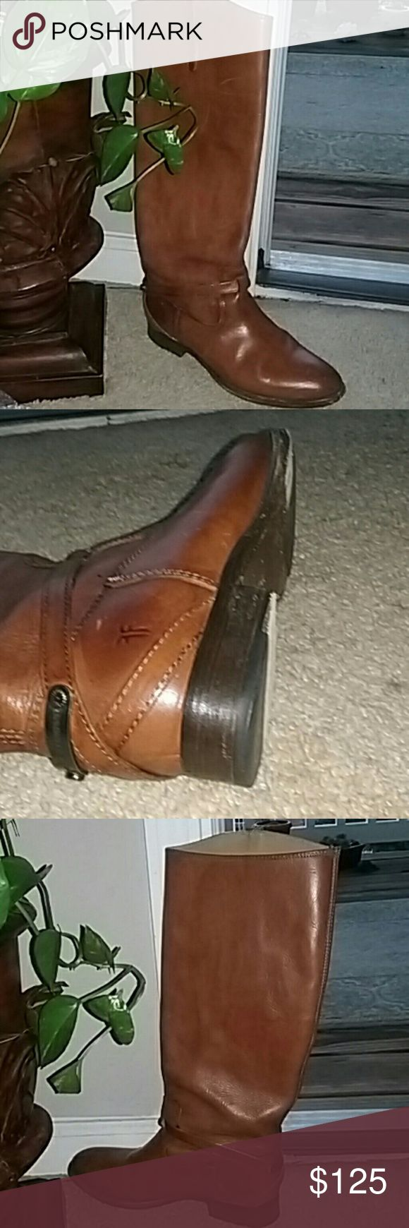 Frye Leather Boots Excellent used condition, some scratches and minor wear reflected in the price, sturdy, heavyweight, no side zippers, snugg fit, brick brown Frye Shoes Heeled Boots