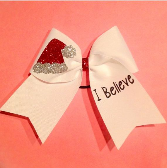 I Believe Christmas Cheer Bow- SUPER CUTE Cheerleading