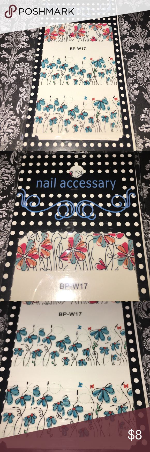Brand new nail decals for pedicures manicures 💅🏻 Cheerful floral design. Mix and match design. Enough for at least 2 full sets Makeup