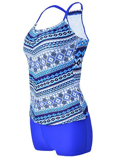 Spaghetti Strap Printed Top and Royal Blue Shorts on sale only US$27.70 now, buy cheap Spaghetti Strap Printed Top and Royal Blue Shorts at liligal.com