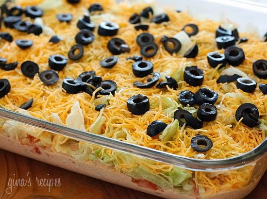 Skinny Taco Dip -- Reduced fat sour cream, cream cheese, and cheddar cheese -- and no refried beans -- cut the fat and calories.