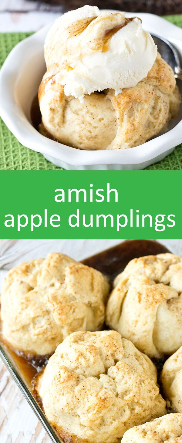 Amish Apple Dumplings. Apples wrapped in a buttery, homemade dough and baked in…