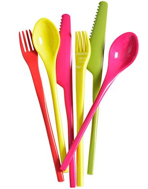 Melamine cutlery set with fork, spoon, and knife in bright pink, yellow, green and red