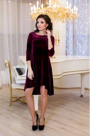 Оригінальна сукня з ніжного велюру з асиметричним подолом. Рукав 3 4 ... 0c22516afe5cf