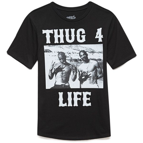 Forever 21 Thug 4 Life Tee (€10) ❤ liked on Polyvore featuring tops, t-shirts, shirts, tees, forever21, short sleeve graphic tees, short-sleeve shirt, short sleeve tee, graphic design shirts and graphic t shirts