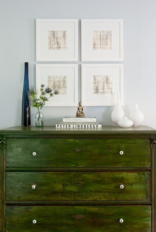 Refinished furniture adds uniqueness. Love the green finish on this - bold, and stylish all at once.