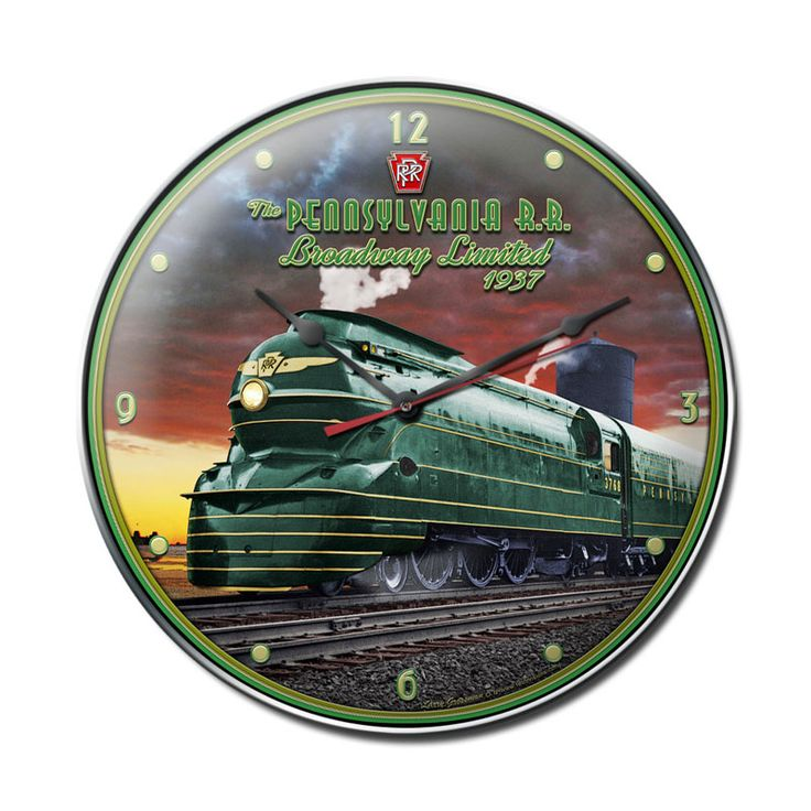 From the Larry Grossman licensed collection, this Pennsylvania Rail Road clock measures 14 inches by 14 inches and weighs in at 3 lb(s). We hand make all of our clocks in the USA using heavy gauge american steel and a process known as sublimation, where the image is baked into a powder coating for a durable and long lasting finish. This clock includes an american made quartz clock movement (requires one AA battery) for years of accurate time keeping and is covered with a clear acrylic lens.
