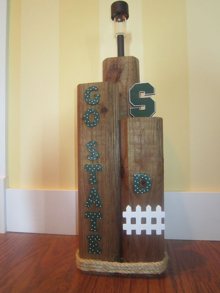 Sports team solar light stand made from landscape timbers for Where to buy solar lights for crafts