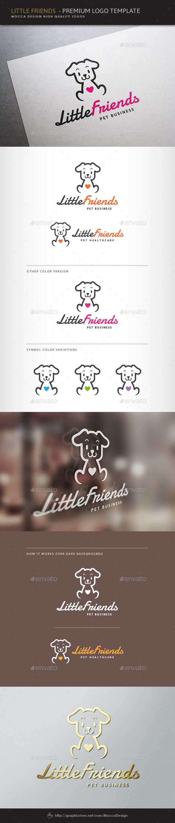 Little Friends Logo — Vector EPS #puppies supplies store #sweet puppy • Available here → https://graphicriver.net/item/little-friends-logo/5019785?ref=pxcr