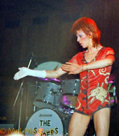 "soundsof71: "" David Bowie, miming in the famous Bunny Onesie, Newcastle Town Hall, 1973, by Mel Morpeth """