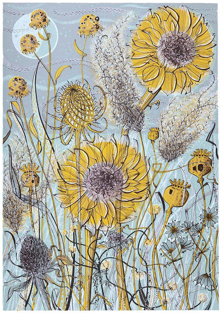 Angie Lewin, Born: 1963 Bollington, Cheshire, Autumn Garden, Norfolk, screen print, 585mm x 410mm, Edition size: 85