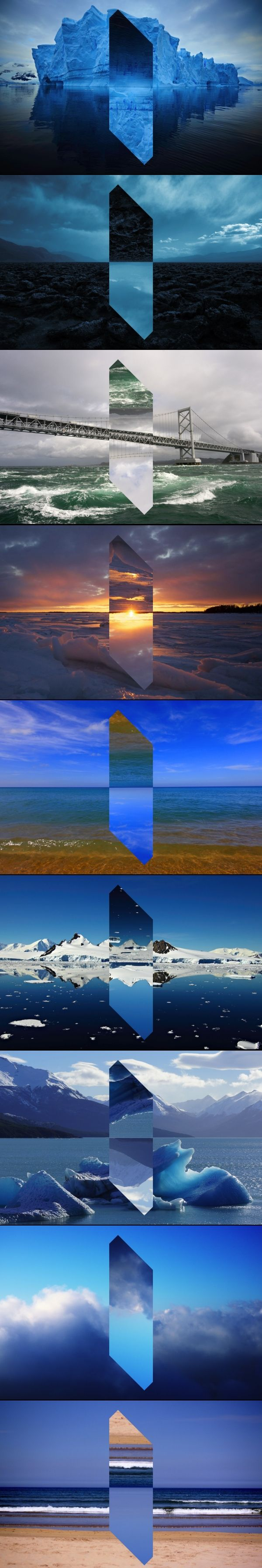 Multimedia artist Reynald Drouhin's revises crystal clear landscapes in his series 'Landscape Monolith', by turning sections of the land upside-down.