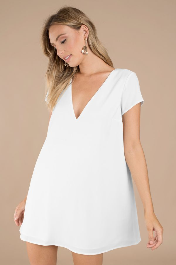 2684b18125d9a Swoop In Shift Dress in 2019 | clothez/inspo | Dresses, White shift ...