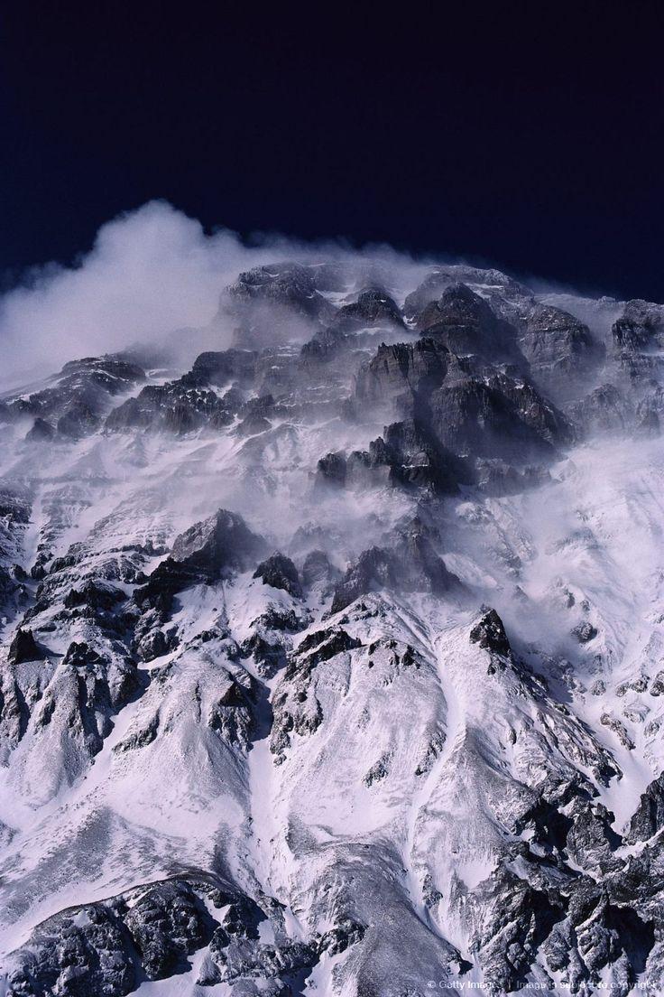Vista aérea del Aconcagua, nuestro pico más alto de la cordillera de los Andes, de aprox. 7.000 m, Mendoza , Argentina.