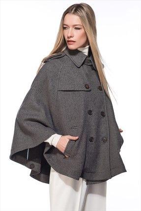 Milla by trendyol · Küçük Siyah Elbiseler - Gri Melanj Kaban MLWAW154707 sadece 169,99TL ile Trendyol da