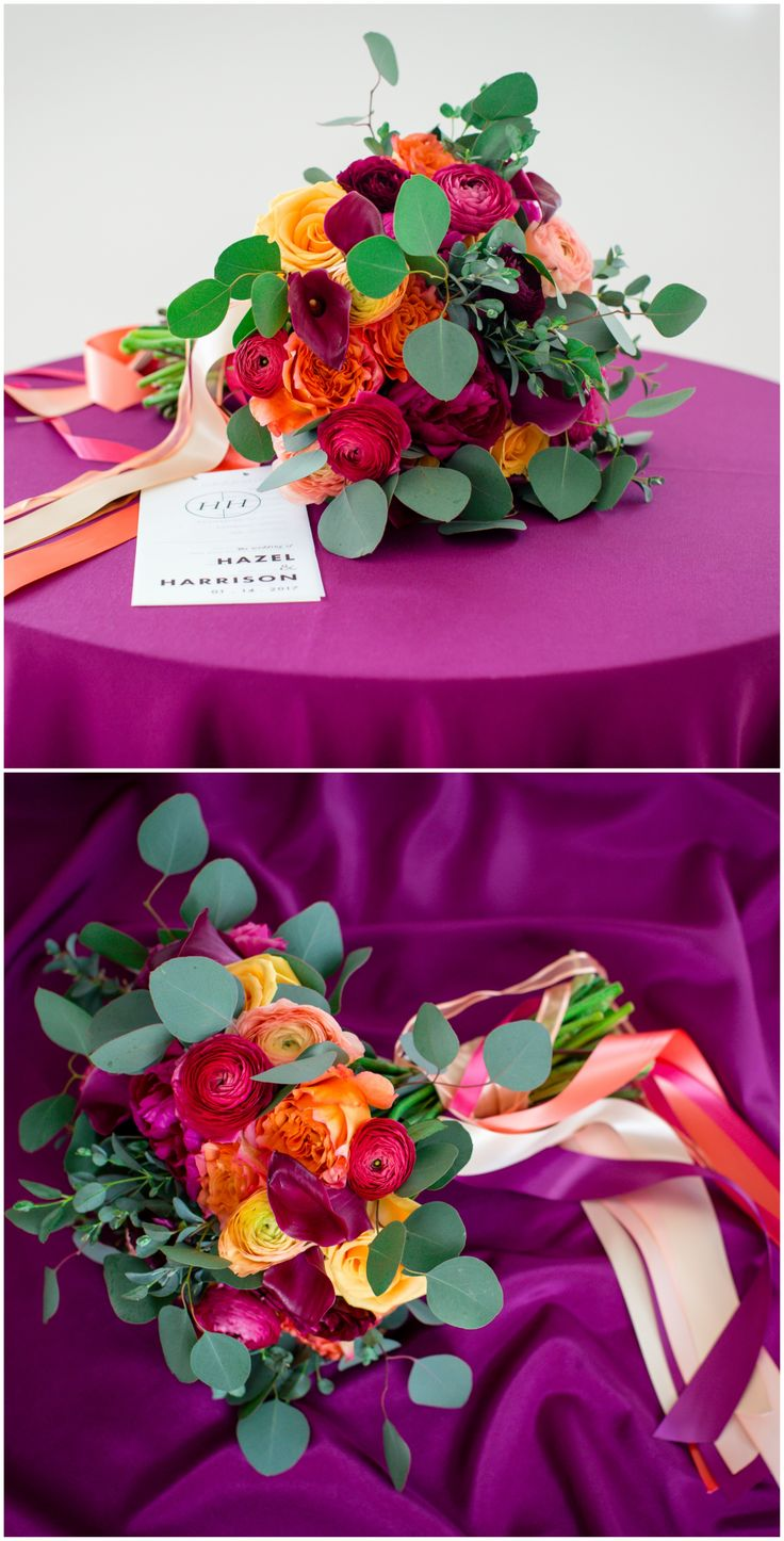 Bridal bouquet, colorful wedding, bright purple linens, hot pink and orange flowers, ranunculus // Andrea DeLong Photography